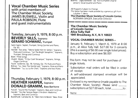 First Vocal Chamber Music Series, 1979