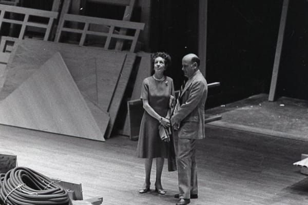 Alice Tully and Mark Schubart on the Alice Tully Hall stage as the organ is delivered.