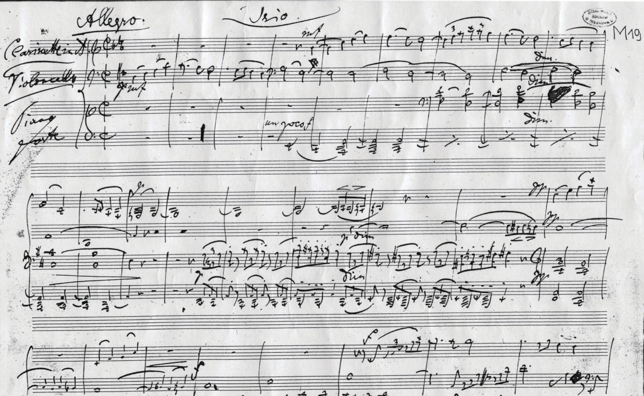 Brahms Clarinet Trio Manuscript Score