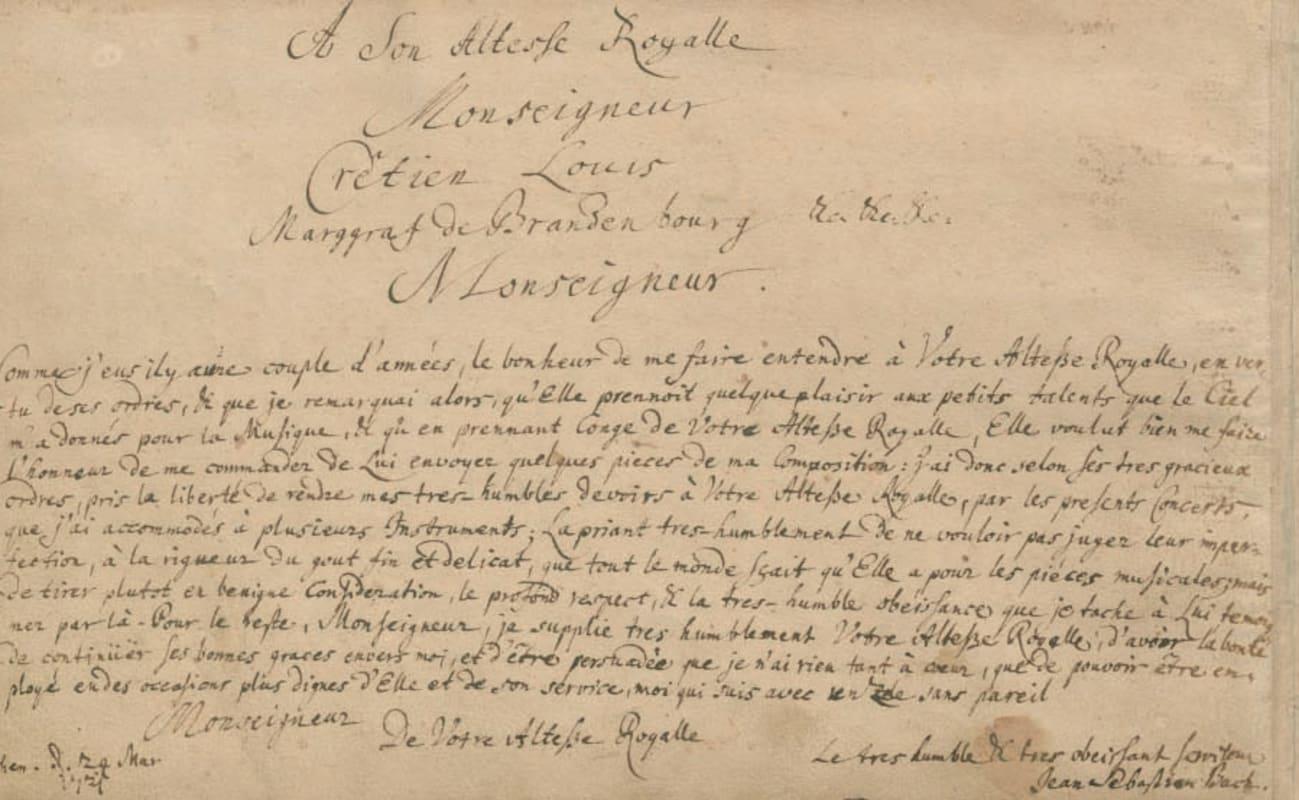 Dedication page of Bach's Brandenburg Concertos