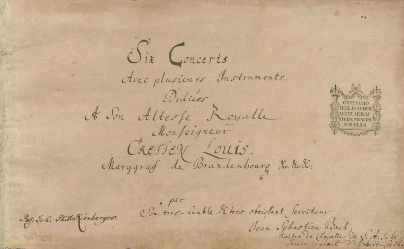 Title page of Bach's Brandenburg Concertos
