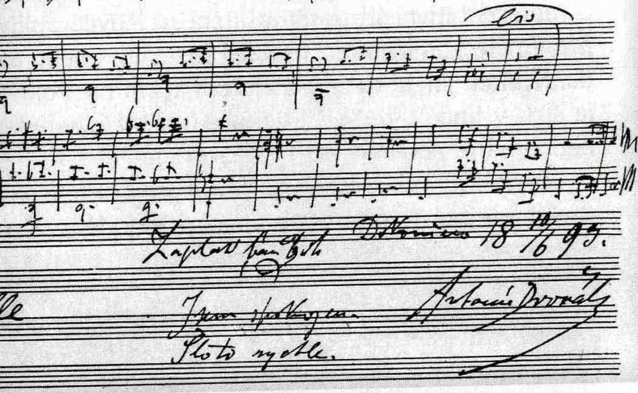 Last page of the autograph manuscript of Dvořák's American Quartet