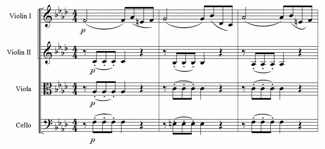First three measures of Op. 20, No. 5, Mvt. 1