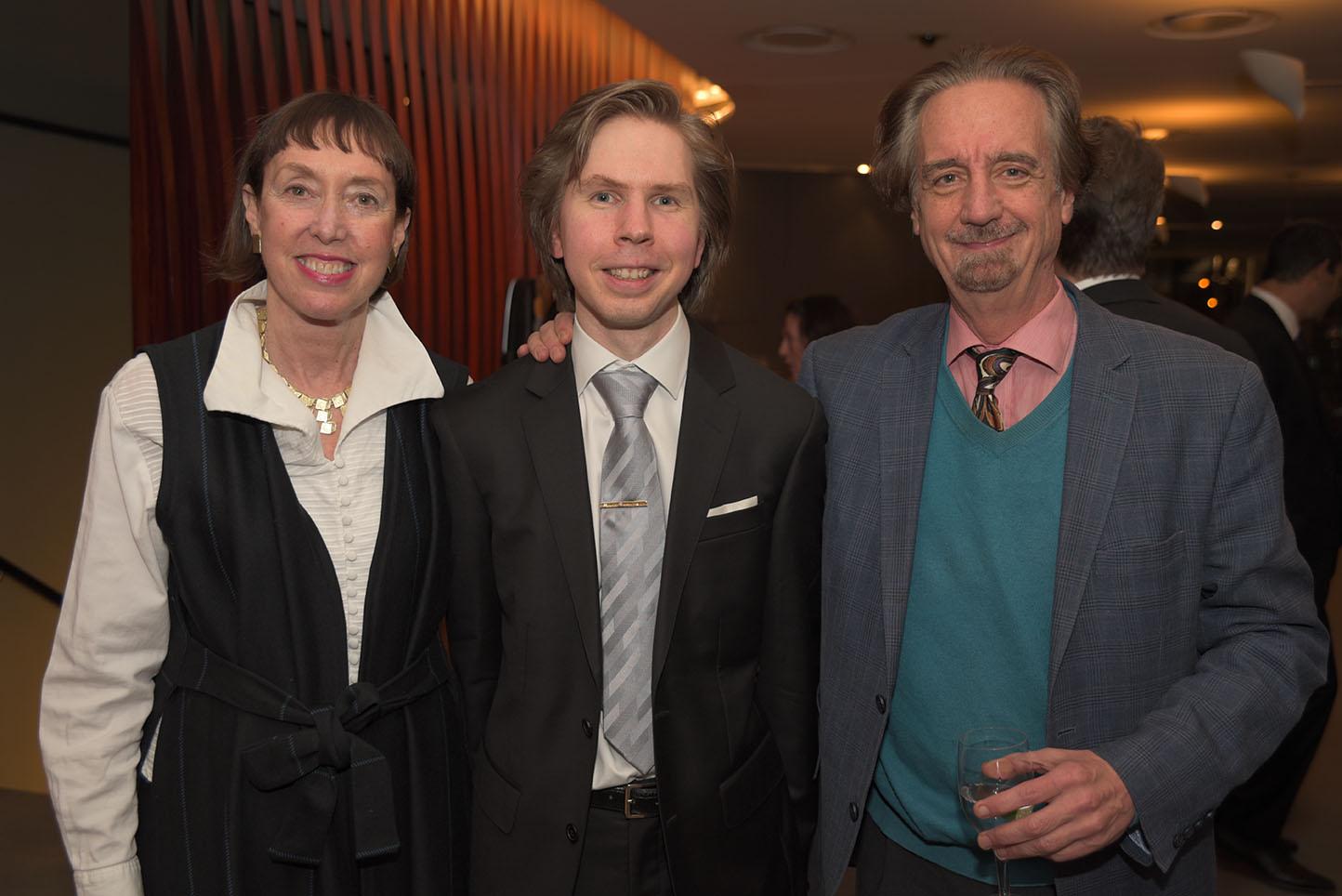 CMS Executive Director Suzanne Davidson, Juho Pojhonen, CMS Artistic Director David Finckel