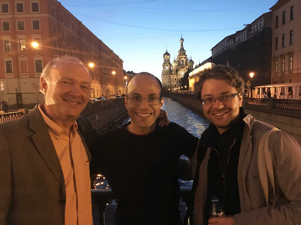 Paul Neubauer, Orion Weiss, Alexander Sitkovetsky outside the Church on Spilled Blood