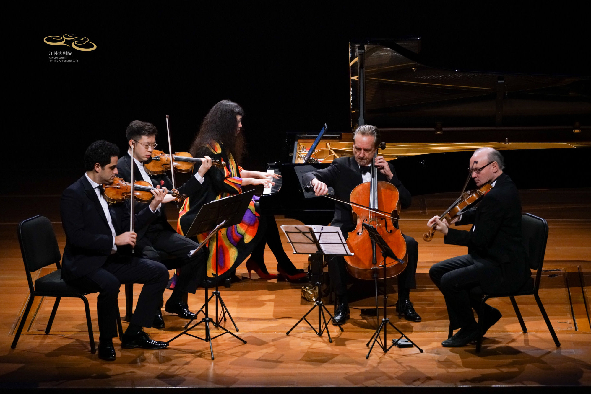 Violinists Arnaud Sussmann and Paul Huang, pianist Wu Han cellist David Finckel, and violist Paul Neubauer perform at the Jiangsu Centre for the Performing Arts in Nanjing, China