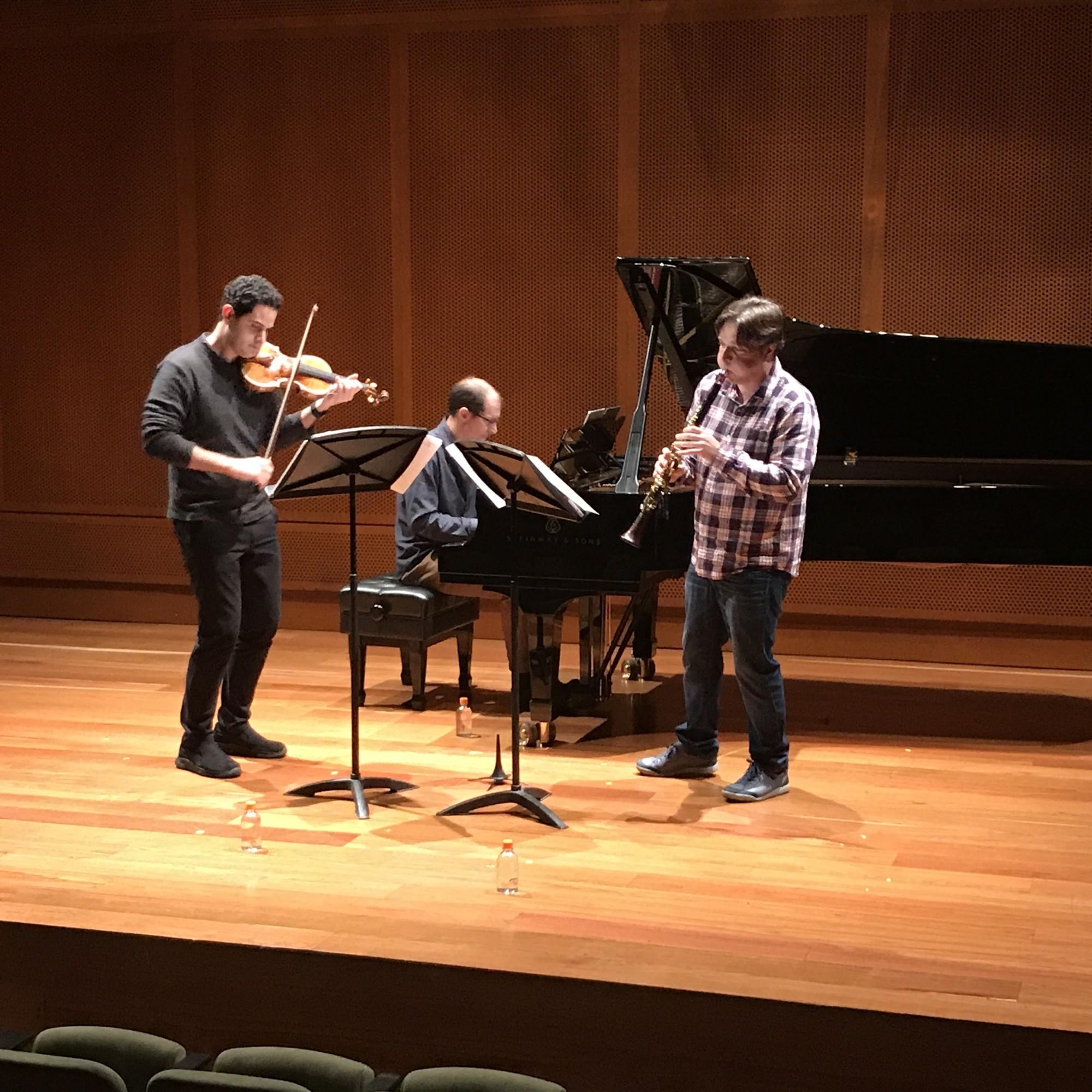 Violinist Arnaud Sussman, pianist Gilles Vonsattel, and clarinetist Jose Franch-Ballester rehearse.