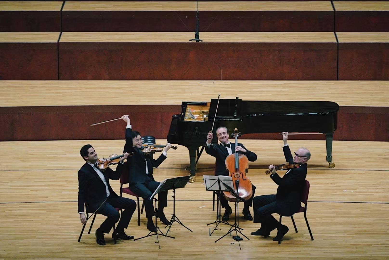 Violinists Arnaud Sussmann and Paul Huang, cellist David Finckel, and violist Paul Neubauer perform at the National Kaohsiung Center for the Arts - Weiwuying.