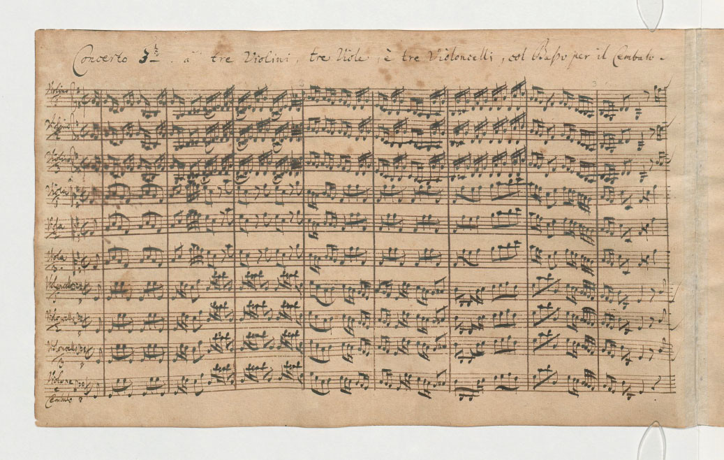 Manuscript score of the Third Brandenburg Concerto.
