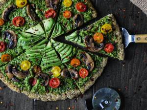 Cauliflower Crust Pizza with veggies