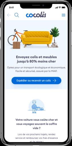 Illustration interface Cocolis sur mobile