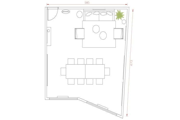 Salle de réunion Paris - Plan 2D salle de réunion paris - Cocoon Reculettes - Abel
