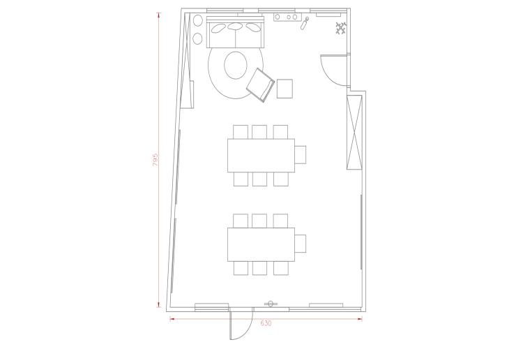 Salle de réunion Paris - Plan 2D salle de réunion paris - Cocoon Reculettes - René