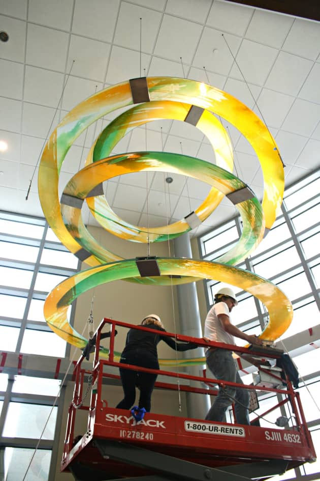 Suspended blown glass lobby sculpture