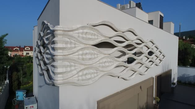White Wave and Brown Wall