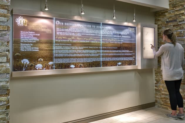 Welcome Wall, Donor Tribute, History Wall, and Prayer Niche