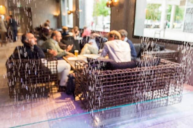 Digital Water Curtain inside a trendy Restaurant