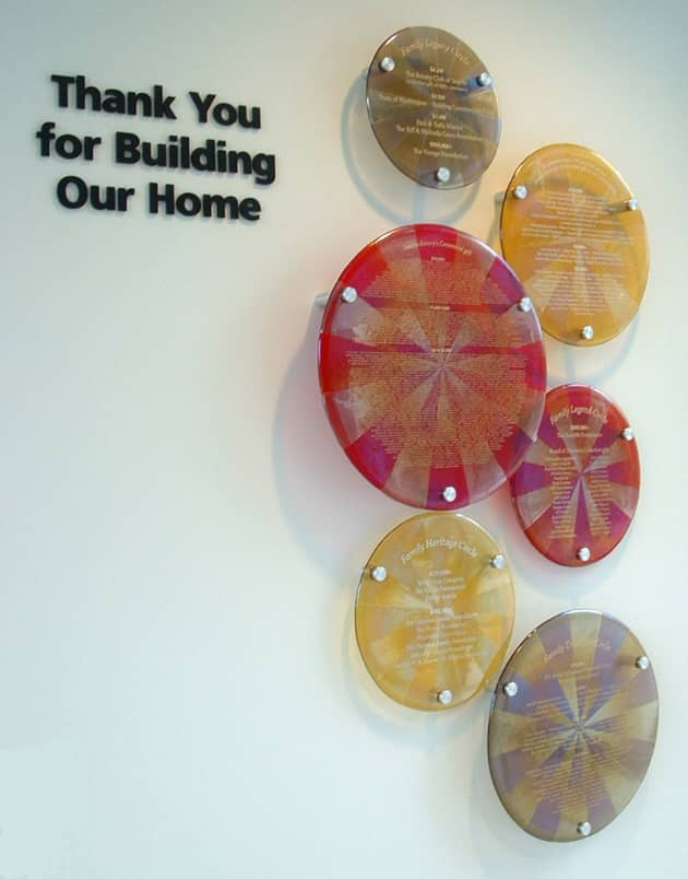 Glass Atrium Sculpture and Donor Wall