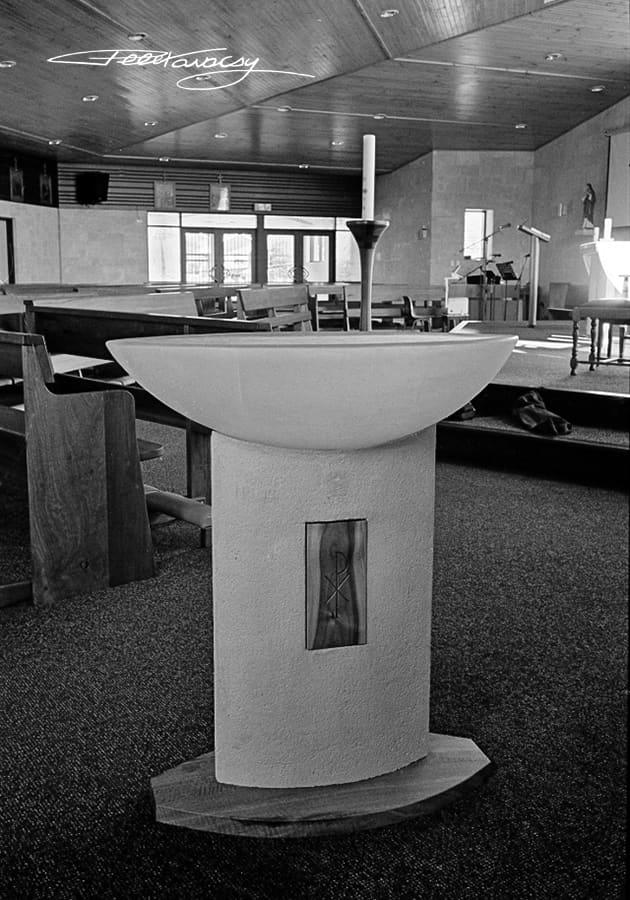 Cast Glass Baptism Font