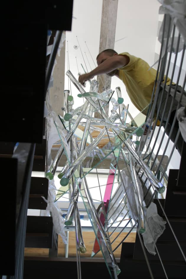 Sticks and Stones – Suspended Stairwell Sculpture