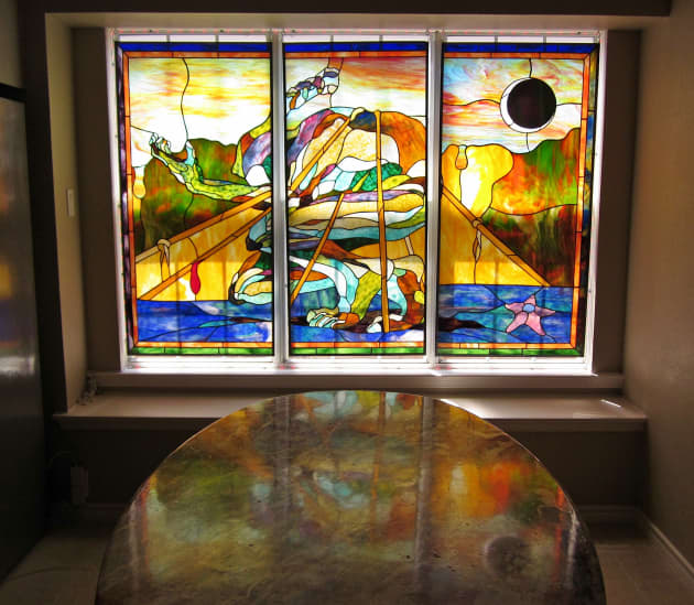 Sir Real Guy Stained Glass triptych
