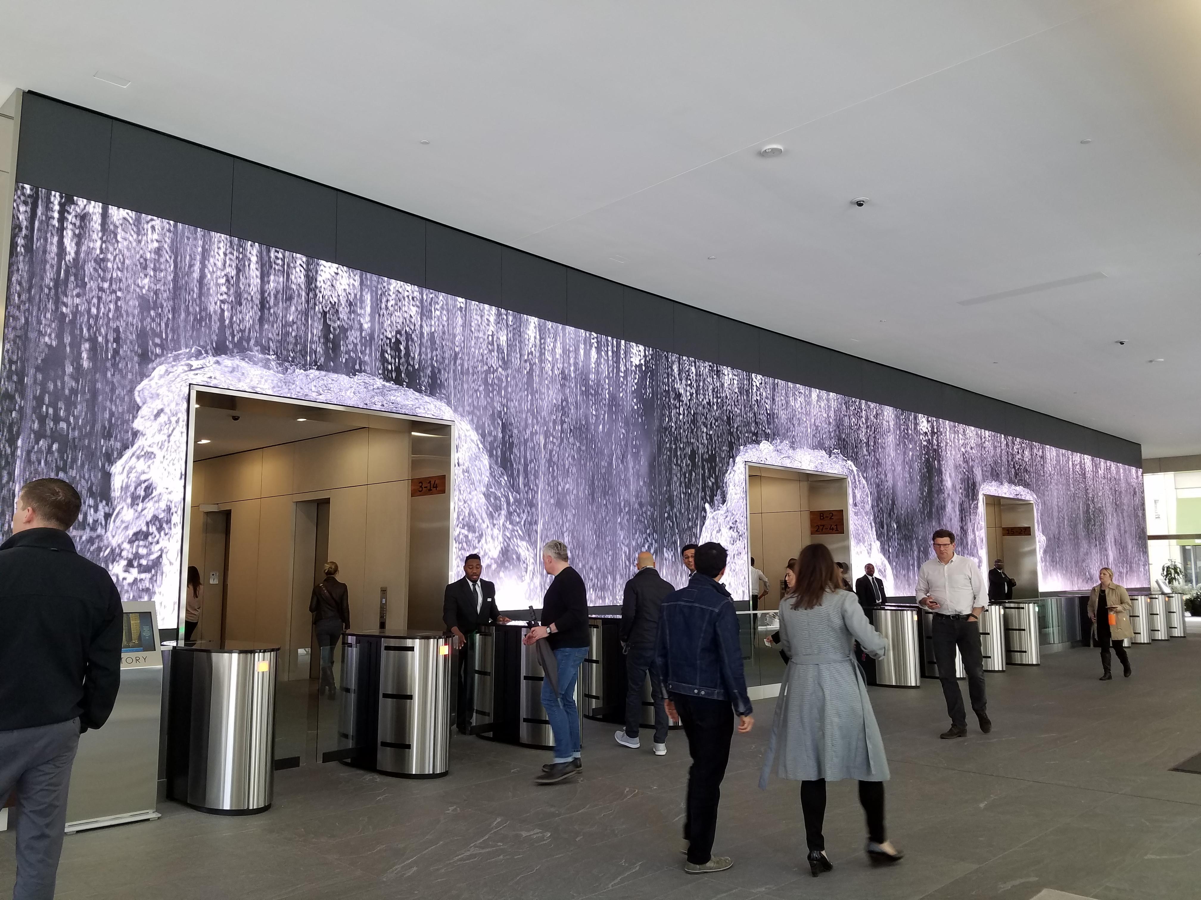 Project Waterfall Video Wall Salesforce Lobby Codaworx