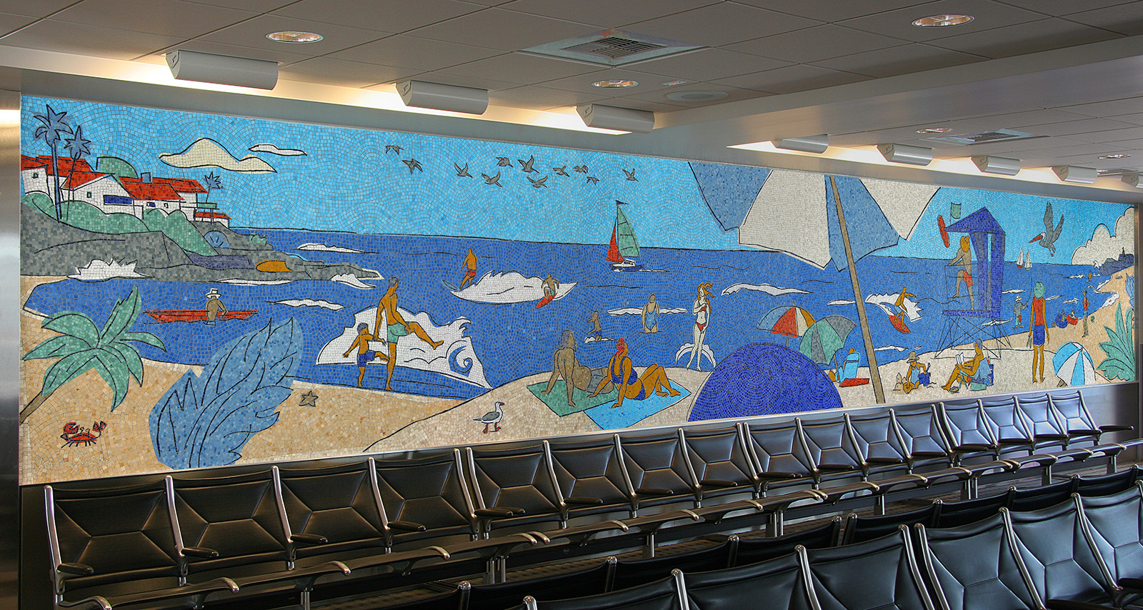 Project a day at the beach mosaic mural codaworx for Mural mosaic