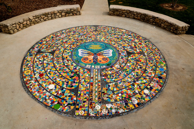 The Mosaic labyrinth image at the El Sereno Gardens in East LA
