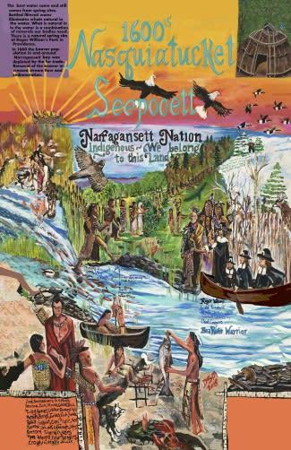 "Providence River Mural"" 2019″  by Native American Wamapanoag Artist  Deborah Spears Moorehead"
