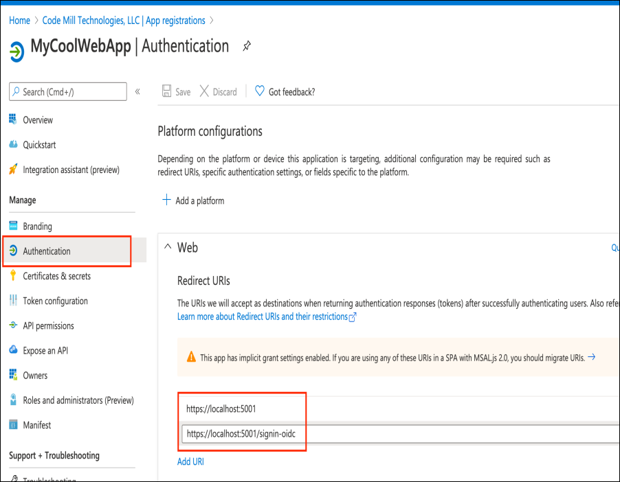 redirect uri configuration screenshot