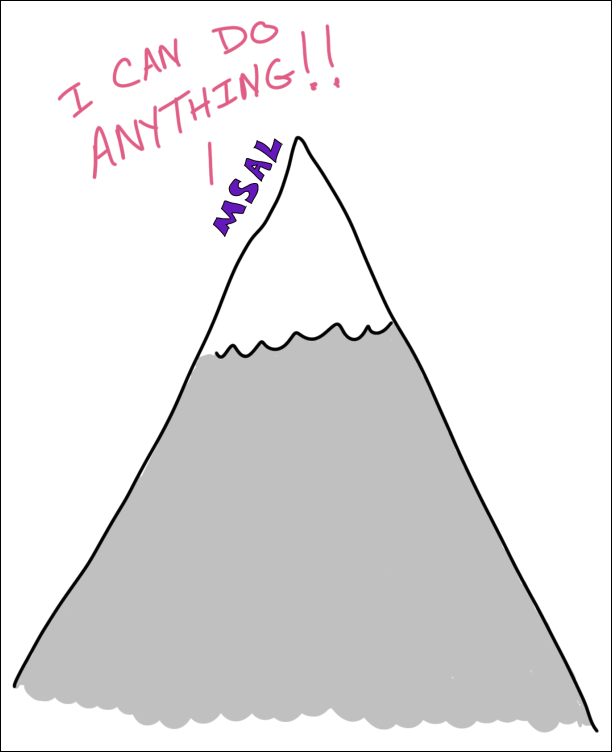 Drawing of MSAL scaling a mountain