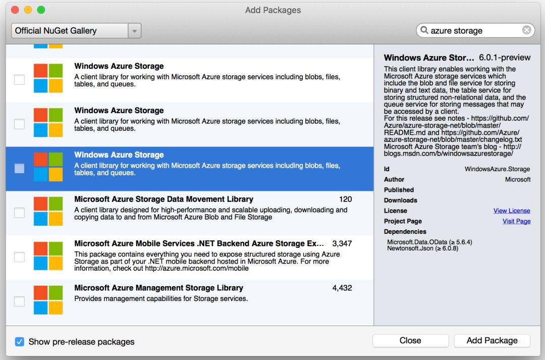 Azure Storage Service NuGet
