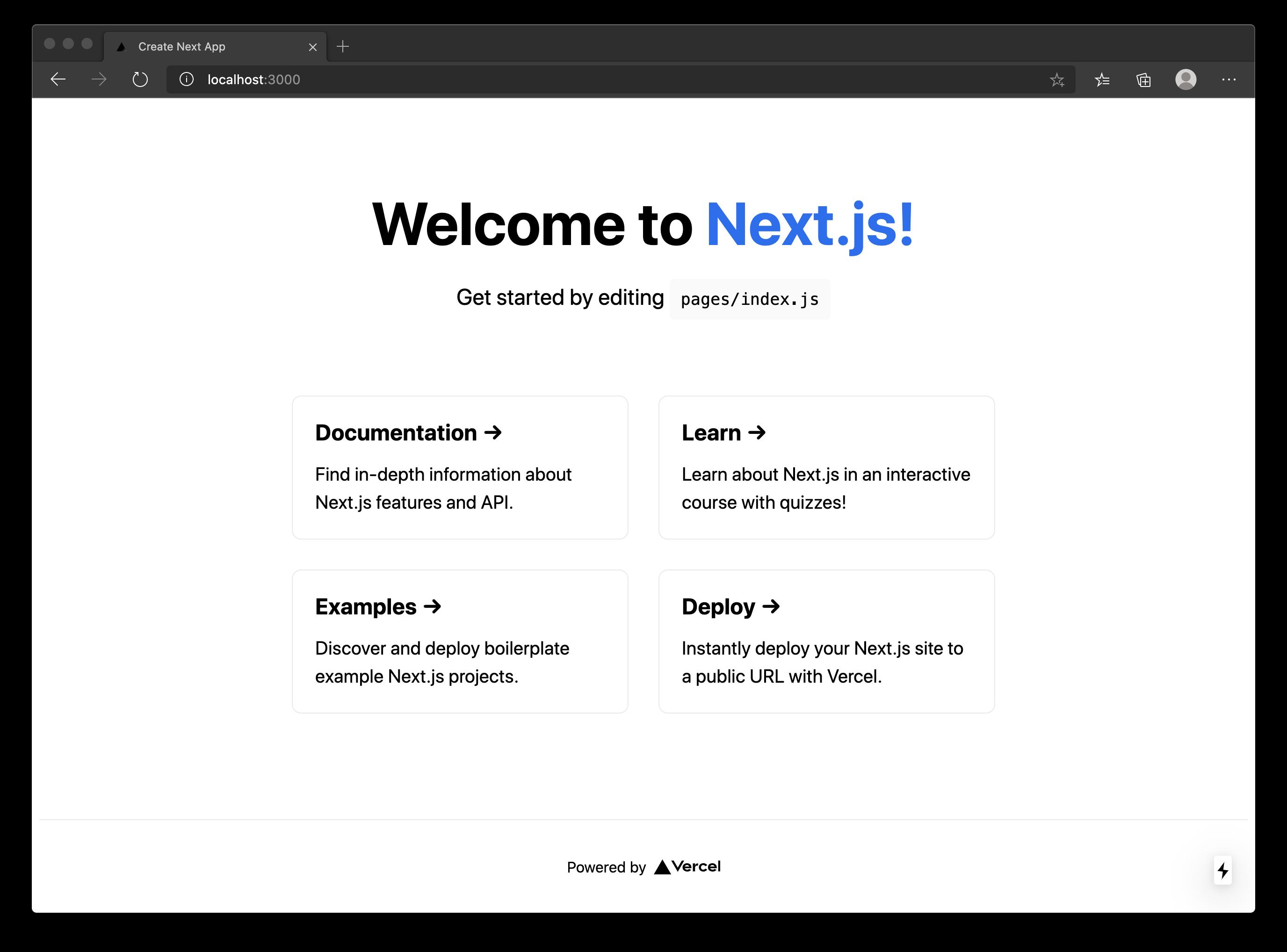 First, run with Next.js starter screen