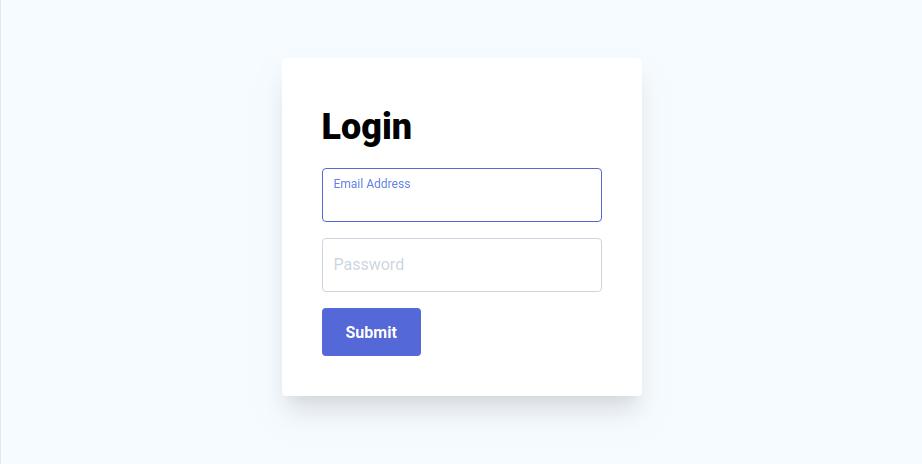 Login form screenshot