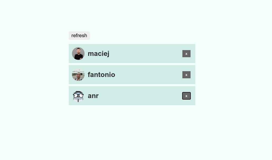 Github user suggestion with 3 users