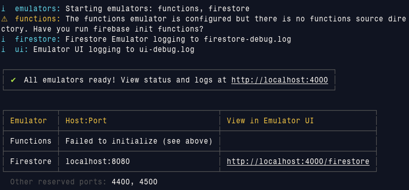 firebase emulator output