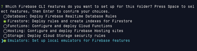 firebase init feature choice