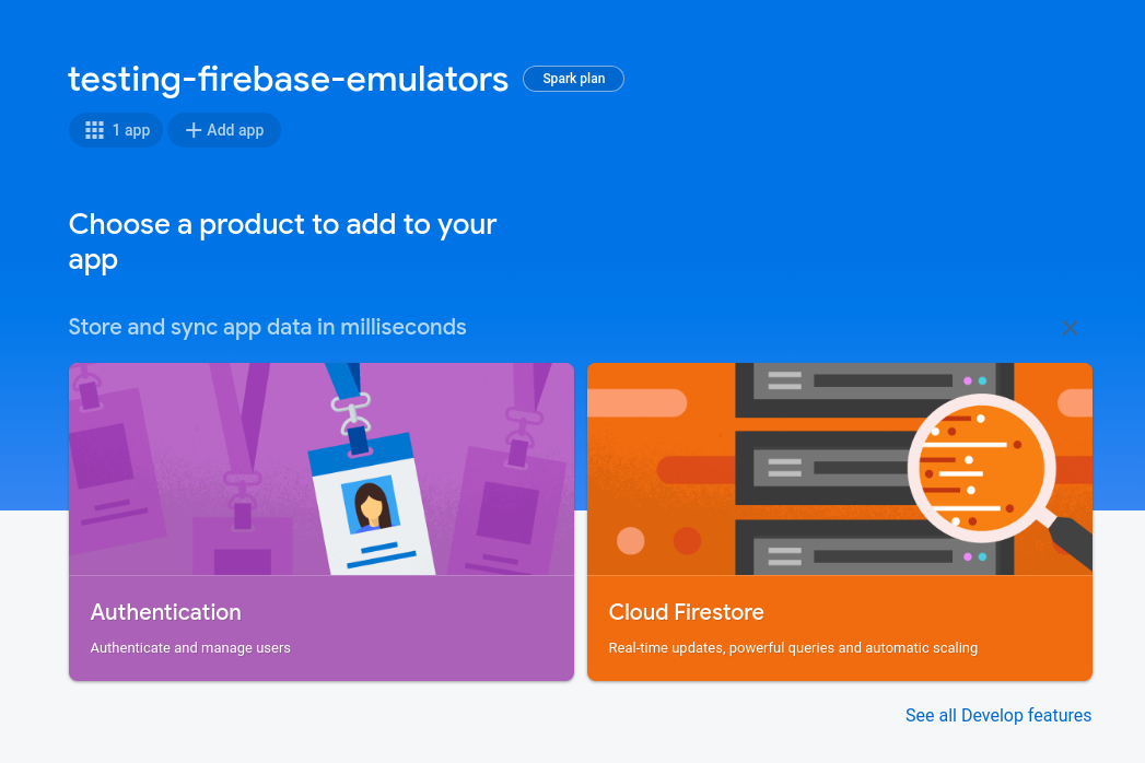 Firebase Console: Project view