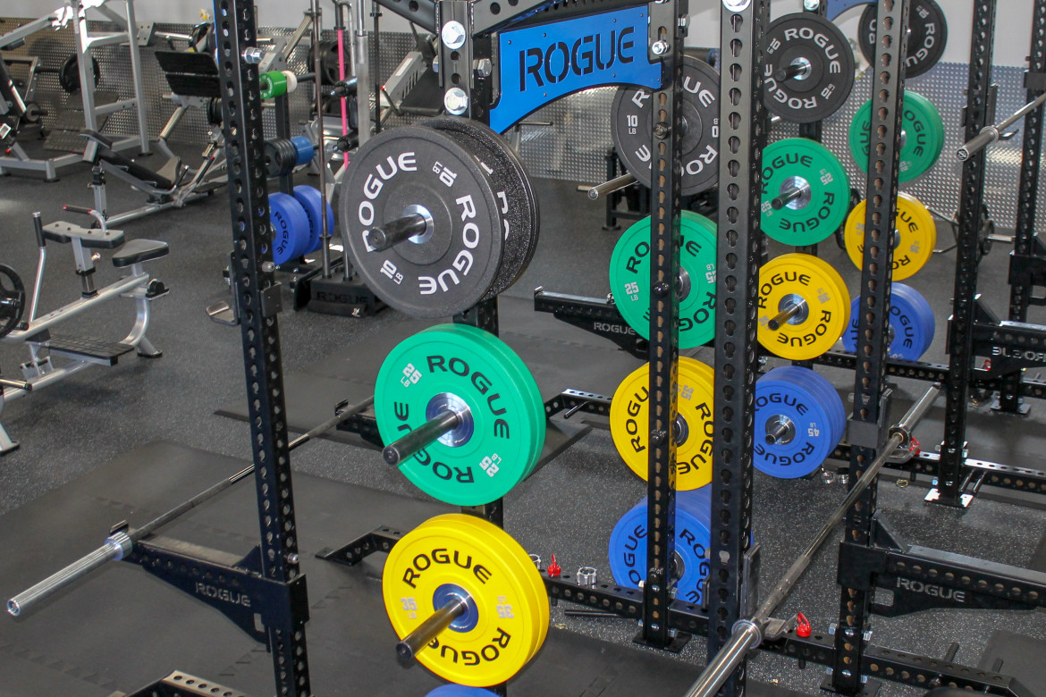 Squat rack with colorful Rogue plates
