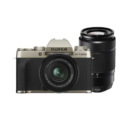 FUJIFILM X-T200 COMBO 15-45MM AND 50-230MM LENS CHAMPAGNE GOLD