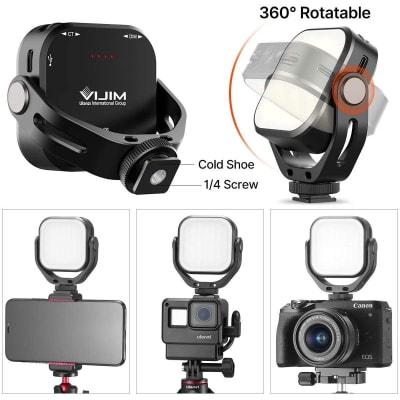 ULANZI VIJIM VL66 LED VIDEO LIGHT FOR GOPRO 8 7 6 5 VLOGGING W/MT-14 MINI EXTENDABLE TRIPOD