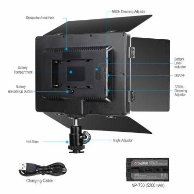 DIGITEK LED PROFESSIONAL VIDEO LIGHT & NP-750 LI-ION BATTERY WITH MICRO USB CHARGING (LED D520B COMBO)