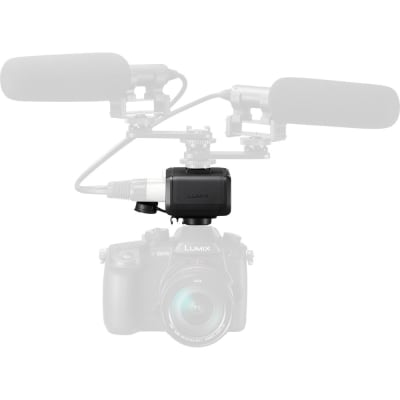 PANASONIC DMW-XLR1 CONNECTS TO DC-GH5 THROUGH HOT SHOE, PROVIDES TWO XLR AUDIO INPUTS ,CONTROL PANEL WITH CLEAR COVER