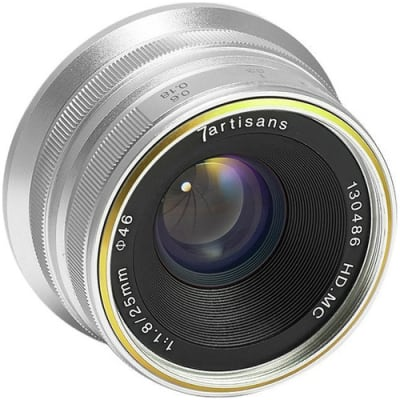 7 ARTISANS 25MM F1.8 SONY FOR PANASONIC/ OLYMPUS MFT-MOUNT / APS-C SILVER