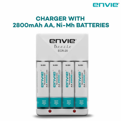 DIGITEK ENVIE ECR20 2800MAH AA NI-MH RECHARGEABLE BATTERIES [4 PIECES] + BATTERY CHARGER SET