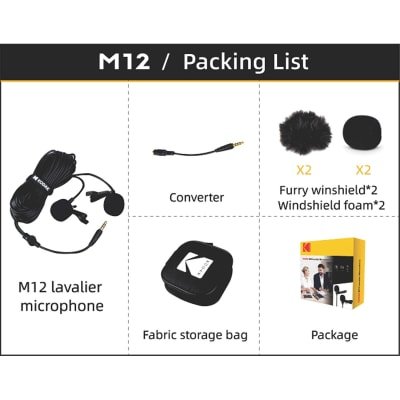 KODAK M12 2.5MM DUAL LAVALIER MICROPHONE WITH ADAPTER FOR SMARTPHONES