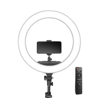 DIGITEK (DRL-18R) LED RING LIGHT WITH REMOTE & NO SHADOW APERTURES | IDEAL FOR MAKE-UP ARTISTS & FASHION PHOTOGRAPHERS, VIDEO SHOOT, YOU TUBE VIDEOS & MORE