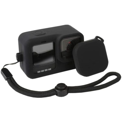 RELIABLE SILICONE LANYARD PROTECTIVE COVER AND SILICONE LENS CAP FOR GOPRO HERO 9 BLACK