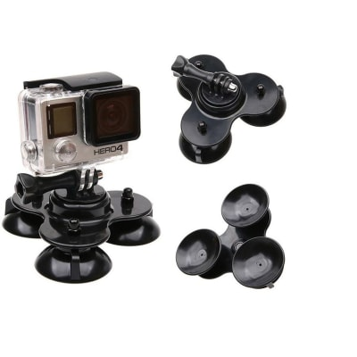 RELIABLE WINDSHIELD CAR SUCTION CUP MOUNT COMPATIBLE FOR GO PRO HERO 9/8/7 BLACK, SJCAM, YI, EKEN, SMARTPHONES & OTHER ACTION CAMERAS ACCESSORIES