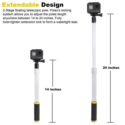 RELIABLE WATERPROOF FLOATING AQUAPOD SELFIE STICK FOR GOPRO & OTHER ACTION CAMERAS